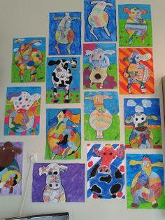 Koeien met waterverf/acrylverf. Eerst een eenvoudige koe maken, dan inkleuren met verf. Dan de achtergrond maken. Als alles droog is, de koe omlijnen met zwart verf. En tot slot je handtekening/paraaf eronder zetten.
