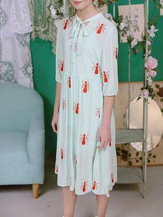 Casual 3/4 Sleeve Animal Print Midi Dress
