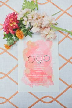 Watercolor peach and coral wedding stationery
