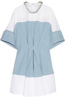 3.1 Phillip Lim Embellished poplin, chambray and crepe de chine mini dress | NET-A-PORTER