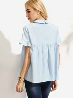 Shop Blue Peter Pan Collar Button Back Blouse online. SheIn offers Blue Peter Pan Collar Button Back Blouse & more to fit your fashionable needs.
