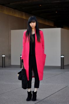 Pretty yet fierce hot pink coat. #coats #jackets