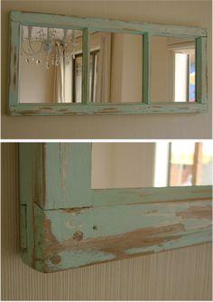 ventana reciclada con espejos