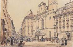 Rudolf Von Alt - Michaelerplatz und Kohlenstoffmarkt in Wien