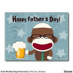 Sock Monkey Papa Postcard