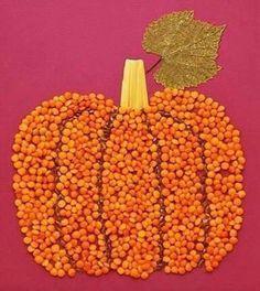 Pumpkin Bean and Seed Craft Autumn Crafts, Fall Crafts For Kids, Autumn Art, Nature Crafts, Toddler Crafts, Diy For Kids, Holiday Crafts, Kids Crafts, Autumn Activities