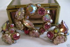 Vintage Weiss Hot Pink AB Rhinestones Molded Glass Demi Parure #Weiss