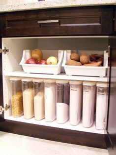 Instead of canisters on the counter and boxes in the pantry...like this idea. Kitchen storage dry goods storage in kitchen cabinets.