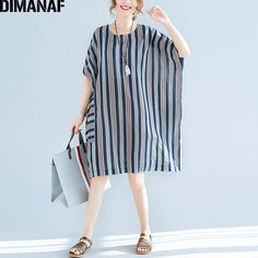 Cheap linen dress, Buy Quality sleeve dress directly from China dress 5xl Suppliers: DIMANAF Women Plus Size Striped Linen Dress 2018 Summer Female Vestidos Oversized Loose Casual O-Neck Batwing Sleeve Dress 5XL