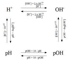 Berechnungen von pH, pOH, [H+] und [OH-] – hilfreich in chem - Bildung Chemistry Help, Chemistry Classroom, High School Chemistry, Chemistry Notes, Chemistry Lessons, Physical Chemistry, Teaching Chemistry, Chemistry Experiments, Science Notes