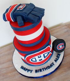 Montreal Habs Canadians hockey NHL cake with fondant edible glove and puck