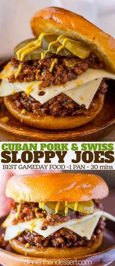 Cuban Sloppy Joes with seasoned ground pork with citrus flavors topped with Swis. Cuban Sloppy Joes with seasoned ground pork with citrus flavors topped with Swiss cheese pickles and mustard is a Cuban take of the favorite sloppy joes! Healthy Recipes, Lunch Recipes, Beef Recipes, Cooking Recipes, Dinner Recipes, Recipes For Ground Pork, Cuban Recipes, Hot Sandwich Recipes, Recipies