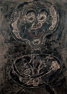 Jean Dubuffet ~ Ponge feu follet noir, 1947 (oil on canvas on Pavatex)