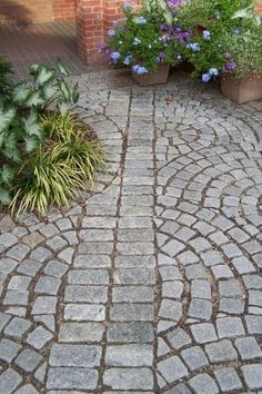 cobbled path with curved and straight elements and grass growing right up to it - maybe uneven edges?
