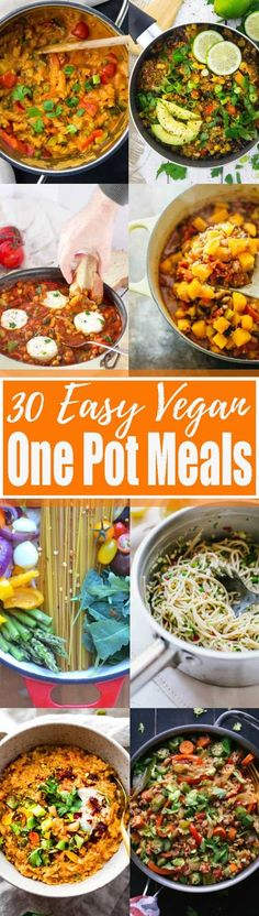 Oh, how I love one pot recipes! These 30 easy vegan one pot meals are perfect for busy days! All of these vegetarian recipes are complete meals that are made in only one cooking vessel. This is not only super easy but it also means less washing-up! Find more vegan recipes at veganheaven.org