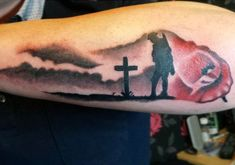 Manly Watercolor Poppy Solider Over Cross Grave Tattoo On Outer Forearm Father Daughter Tattoos, Tattoos For Daughters, Arm Tattoos For Guys, Future Tattoos, Forarm Tattoos, Hand Tattoos, Tattoo Ink, Tatoos, Japanese Sleeve Tattoos