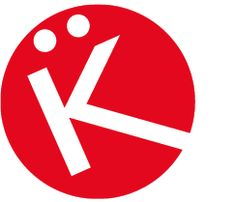 Diane Kron's partial logo large white K with and umlaut coming out of a bright red circle