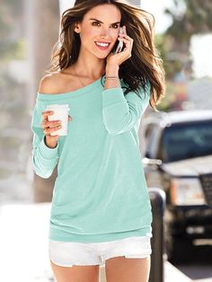 off the shoulder tunic - I want to be walking on my phone with coffee in this top (and with her body!)