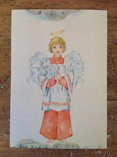 Questo bellissimo angelo è una stampa da mio acquerello originale, è 10 x 15 cm