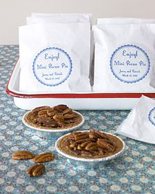 Mini pie favors...great idea for a Southern wedding!
