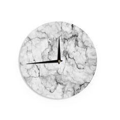 Kess InHouse Chelsea Victoria 'Marble No 2 ' Black Modern Wall Clock (Black Modern Wall Clock), Size 12 (Wood)