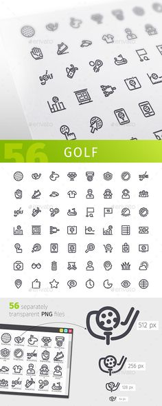 Golf Line Icons Set — PNG Image #symbol #cart • Download ➝ https://graphicriver.net/item/golf-line-icons-set/18316509?ref=pxcr