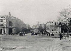 Preciosa foto de La Plaza de Cibeles, con la Diosa en su emplazamiento original. 1891.