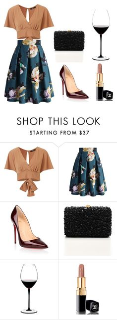"""fancy"" by daliataptiklis on Polyvore featuring moda, Chicwish, Christian Louboutin, Elie Saab, Riedel y Chanel"