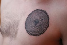 Tree cross section.  33 rings to represent the the age difference between my parents and I.  I am also an avid woodworker, this image means a lot to me.  Tsunami Tattoo by Tim McCarthy one of the many tattoo artists that have inked Steve-O.