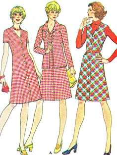 1970s Dress Pattern McCalls 3897 V Neck A Line Dress Pinafore Dress Womens Jumper and Jacket Vintage Sewing Pattern Bust 37