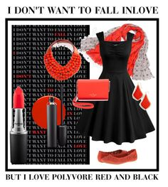 """""""red and black"""" by spinzterella on Polyvore featuring Miz Mooz, Nails Inc., RGLT Scarves, Fairchild Baldwin, MAC Cosmetics, Kate Spade and Kendra Scott"""