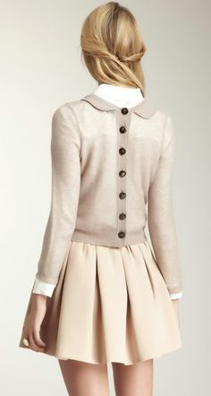 Clean and cute F/W look paired with tights and coat...<3, love this preppy chic look!