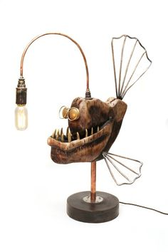 Artist Creates Steampunk Style Anglerfish Lamps Handcrafted From Metal And Wood DIY lamp project, angler-fish edition. Steampunk Furniture, Steampunk Lamp, Metal Art, Wood Art, Luminaria Diy, Animal Lamp, Fish Lamp, Lampe Applique, Angler Fish