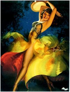 Vintage 1946 Pin Up Girl Picture by Rolf Armstrong Rippling Rhythm Rolf Armstrong, Pinup Art, Dita Von Teese, Oahu, Pin Up Pictures, Portraits, Bay City, Vintage Artwork, Woman Painting
