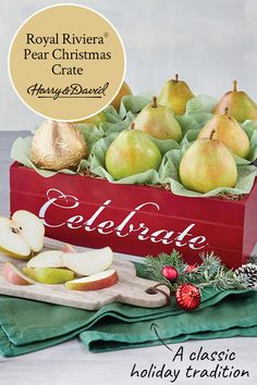 Start a holiday tradition with our famous hand-picked Harry & David Royal Riviera Pears in a decorat Food Baskets For Christmas, Food Gift Baskets, Holiday Gift Baskets, Christmas Food Gifts, White Cheddar Cheese, Onion Relish, Christmas Pictures, Pears, Christmas Traditions