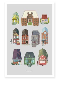 All the Houses Print — Charming architectural print series by Jenny Volvovski of the most typical houses of Chicago.