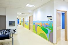 Drawn London skyline in a hospital corridor. Artwork by Artinsite, project by Devereux Architects. London Skyline, Wall Cladding, Hospitals, Corridor, Murals, Architects, Interior, Artwork, Projects