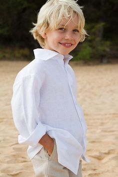 Boy's Linen Amalfi Shirt and khaki pants very nice for the beach causal outdoor wedding