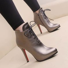 Online Shop 2015 New Arrivals fashion trend Flanging Lace martin boots Thin Ultra high heels boots platform street Red bottom boots Dream Shoes, Crazy Shoes, Hot Shoes, Me Too Shoes, Women's Shoes, High Heel Boots, Heeled Boots, Shoe Boots, Ankle Boots