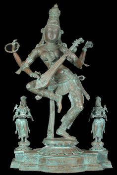 South Indian style Hand Made Bronze Dancing Saraswati sculpture with two Deepa Lakshmis....   an Antique