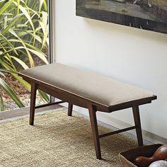 Modern Living Room Bench erikson bench in dark ash finish, reynolds dove fabrick | cc