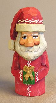 Santa Wood Carving with Present -  - Carved by Lynne Medgaarden from ScottCarvings.com