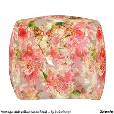Vintage pink yellow roses floral pattern cube pouf