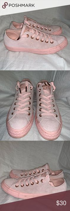 b52915b9bff730 CONVERSE ALL STAR Pink Suede Oxfords- Pink suede exterior with matching  laces
