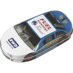 "There's no better way to say ""fast""; ""high performance"" or ""race"" when promoting your product highlights or speed of service. Perfect for tradeshows, product campaigns or just a fun giveaway; this race car shaped tin is filled with 2 oz. (56g) of Jelly Belly (R) jelly beans. With 2 large imprint areas, there's enough room for your logo or message. This reusable tin is recyclable and shrink wrapped for your safety. Dimensions: 3 1/2"" x 7/8"" x 1 7/8…"