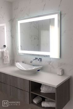 Front-Lighted LED Bathroom Vanity Mirror: 48 x 36 Rectangular Wall-Mounted