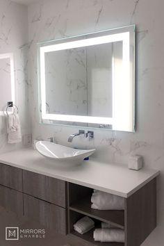 Front-Lighted LED Bathroom Vanity Mirror: 48 x 36 Rectangular Wall-Mounted Small Bathroom Vanities, Guest Bathrooms, Bathroom Vanity Lighting, Bathroom Styling, White Bathroom, Modern Bathroom Design, Bathroom Interior Design, Diy Bathroom Decor, Bathroom Ideas