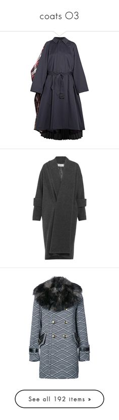 """coats O3"" by earendil-xx ❤ liked on Polyvore featuring outerwear, coats, balenciaga, shawl wrap coat, drape coat, plaid coat, blue shawl, wool blend coat, jackets and dark gray"