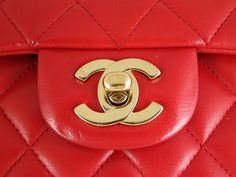 Chanel Red Lambskin Medium Classic 2.55 Double Flap Bag, Rare