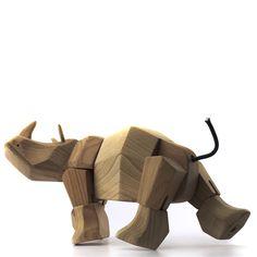 Rhino Wood Toy Named Simus   by Fitzsu Society